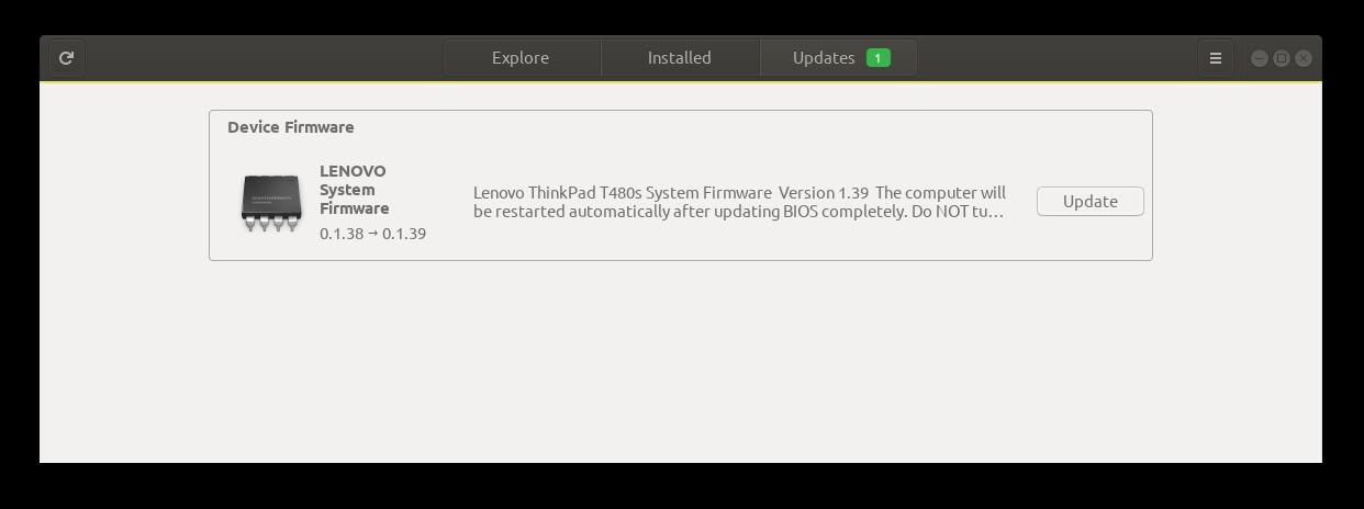 UEFI BIOS Update from the Ubuntu Application Centre