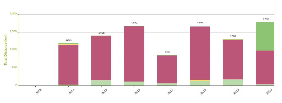 Graph displays distance breakdown by year in Endomondo